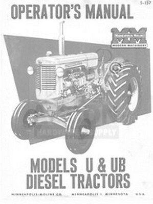 Minneapolis Moline U Ub Diesel Operator Maint. Manual