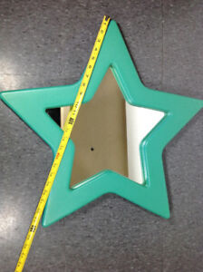 Plastic Green star framed mirror 2 feet wide