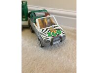 Playmobil zoo jeep and trailer