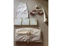 Mamas and papas nursery set, curtain tie backs, pictures, mobile, cot bumper and sleeping bag