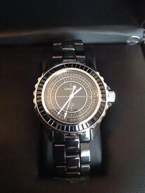Chanel j12 unisex 41mm black ceramic baguette diamond bezel watch