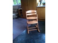 Baby Dan Child's High Chair in natural wood