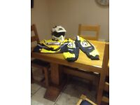 Quad helmet , safety trousers and top for sale