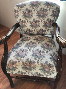 Antique Queen Anne Mahogany Damask Arm Chair