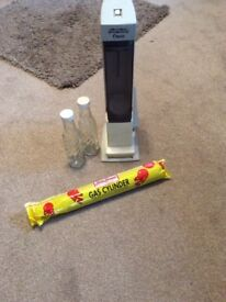 RETRO FROM 90's SODA STREAM WITH TWO SCREW CAP BOTTLES AND GAS