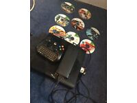 Xbox 360 with games and pad with keyboard
