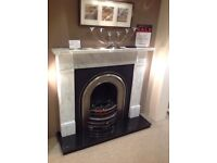 Flat Victorian Complete Fireplace & Electric Fire