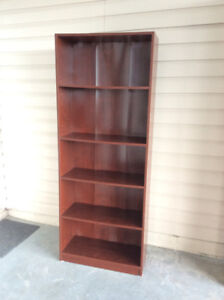 cherry finish 6 foot high bookcase