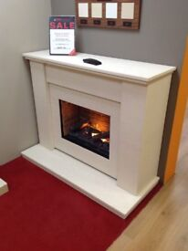 The Mustique Suite Electric in Limestone with the Opti-Myst Flame Effect
