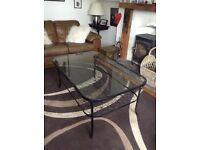 Glass coffee table with matching lamp table