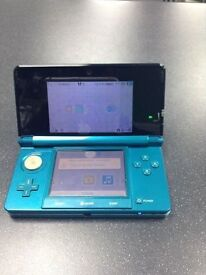 Nintendo 3DS Aqua Blue Very Good Condition+Gameware Flip Cover+2 Games+Charger QUICK SALE!!
