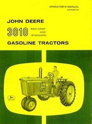 John Deere Model 3010 Gas Tractor Operators Manual Jd