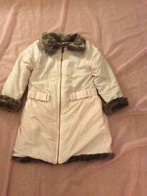 Pink and fur reversible girls coat approximate size age 4-6