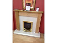 Oak mantel with matching marble hearth and backpanel