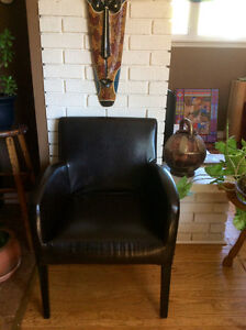 Black leather look chair