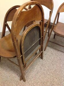 ANTIQUE ROUND TOP WOODEN FOLDING CHAIRS Kitchener / Waterloo Kitchener Area image 3