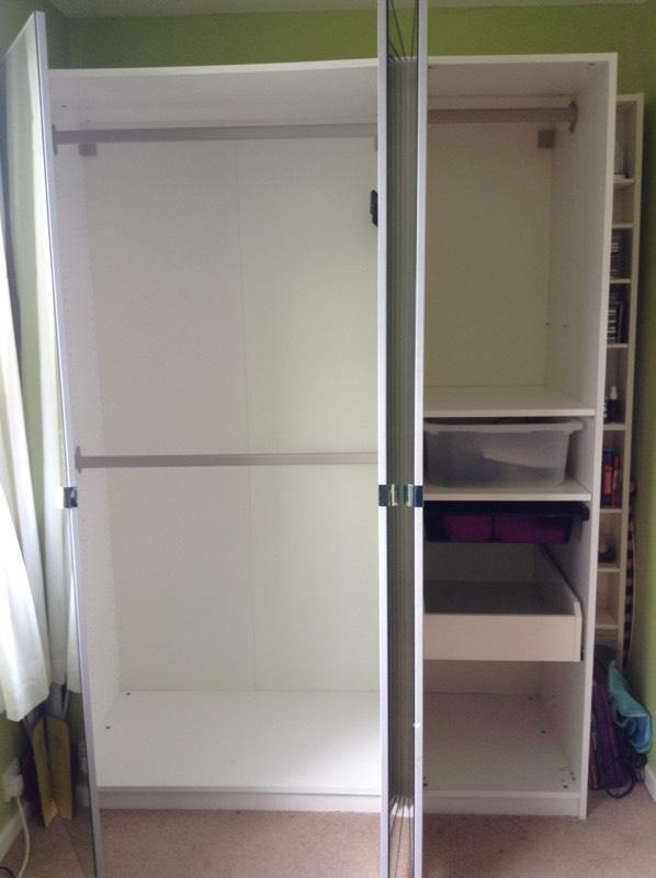 White with mirrored doors ikea pax triple wardrobe in for Ikea chest freezer