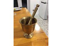 Vintage, Brass, Turkish pestle and mortar