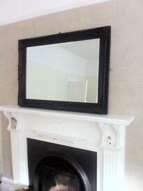 Large black ornate framed mirror 110 cms wide 80 cms high £55