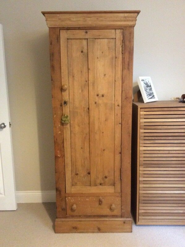 Antique Pine Single Wardrobe In Poole