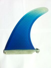 """Surfboard Honeycomb Longboard Fin 8""""or 9"""" Inch + Plate & Screw.SUP Mal fins. Blue with White tip"""