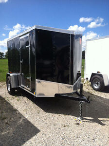 6x12 V nose enclosed trailer Rear ramp door