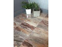 Brown & grey marble effect floor wall tiles 1 m2 per box 49 boxes available