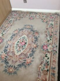 WOOL RUG CLASSIC TRADITIONAL DESIGN PINK AND BEIGE