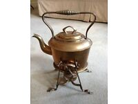 Antique brass spirit kettle and stand by Muster