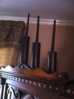 Set of 3 wood candle holders made in India