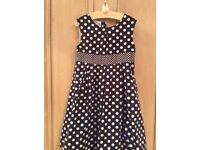 JoJOMamanbebe cotton girls DRESS white and navy polka dots age 4 -5 VGC