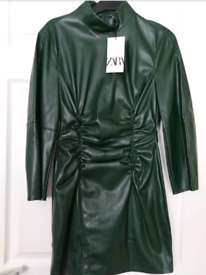 Zara womens faux leather Ruffle dress. With tags. Size 10/Small