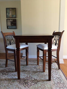 Solid Wood Pub Table & Two Chairs
