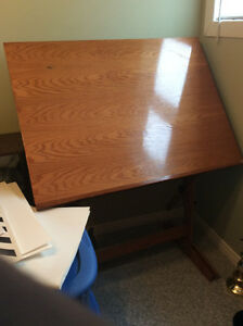 Solid Oak Drafting Table