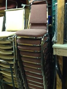 8x PADDED STACKABLE LIGHT BURGUNDY CHROME METAL FRAME CHAIRS