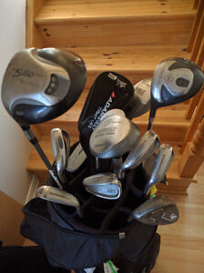 Full set of left clubs including bag. Left