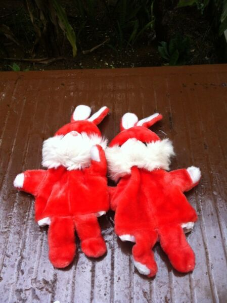 Two rabbit hand puppets. Used only once. Dimension 94 x 23cm. In good condition.