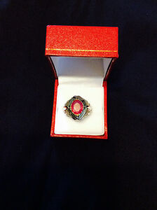 Huge Ruby and Sterling Silver Ring