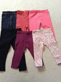 6 pairs of leggings 9-12 months