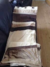 Curtains cream and brown