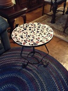 Tile and Iron Round Side Table