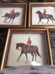 RCMP 3 framed sketches & 3 vintage metal figures