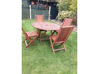 Solid wood patio table and chairs