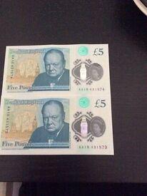 "2xAA £5note ""rare"""