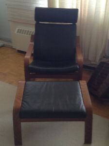 Ikea leather chair with foot stool