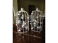 Wedding assorted table decorations and candle holders