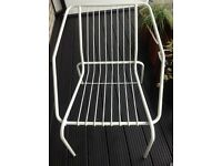Large White Metal Outdoor Garden Patio Chair