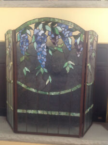 Authentic Stained Glass Fireplace Screen