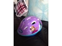 "12"" girls frozen bike with stabilisers,,also frozen safety helmet,knee and elbow pad"