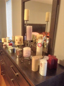 SET OF CANDLES AND CANDLE HOLDERS, MOSTLY NEW